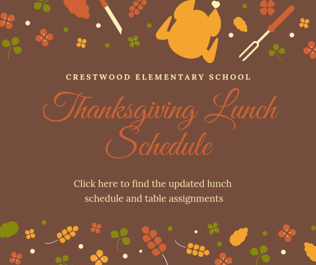Thanksgiving Lunch Schedule 2018